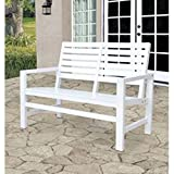 Shine Company Contemporary Garden Bench, White