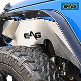 EAG 07-18 Jeep Wrangler JK Front Inner Fender Liner Wells Silver Aluminum