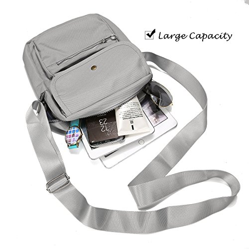 Shoulder Purse Bag for Travel Nylon Crossbody Bag Bag Grey Bag Multi Women Pocketed Messenger Black Passport nPYx8qW8Az