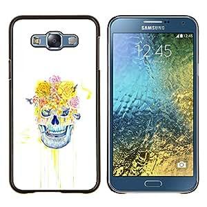 Qstar Arte & diseño plástico duro Fundas Cover Cubre Hard Case Cover para Samsung Galaxy E7 E700 (Cráneo floral Rose)