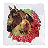 Tufted Chair Cushion Horses and Roses