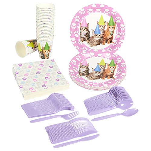 Disposable Dinnerware Set - Serves 24 - Kitten Party Supplies - Includes Plastic Knives, Spoons, Forks, Paper Plates, Napkins, Cups