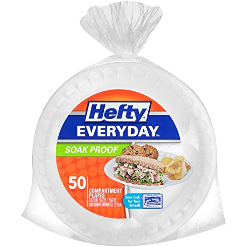 Hefty Everyday Foam Plates (White, Soak Proof, 9-Inch, 50 Count)