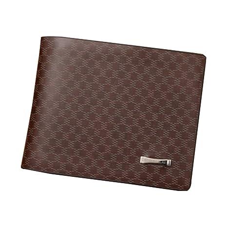YA-Uzeun Billetera para Hombre, Cartera Plegable de Cuero para crédito/Tarjeta de identificación Billetera Mini Cartera