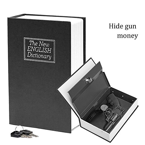 Book Safe with Key Lock-HENGSHENG Dictionary Diversion Secret Book Safe,Full Size 9.5 x 6.1 x 2.1 inches-Black by HENGSHENG