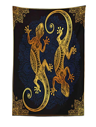 pestry, Artistic Gecko Lizards Boho Framework Tropical Henna Tattoo Style, Fabric Wall Hanging Decor for Bedroom Living Room Dorm, 40 W X 60 L Inches, Dark Orange Yellow Dark Blue ()
