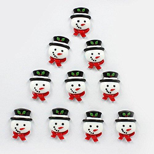 Bulk 10pcs Cute Christmas Snowman Flatback Resin Scrapbooking Cabochons DIY Hair Bow Center Decoration Embellishments Crafts