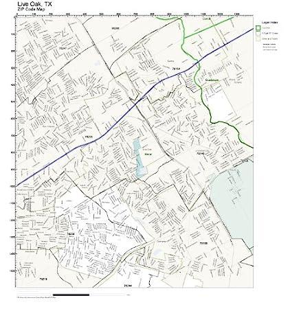 Amazon.com: ZIP Code Wall Map of Live Oak, TX ZIP Code Map Laminated ...