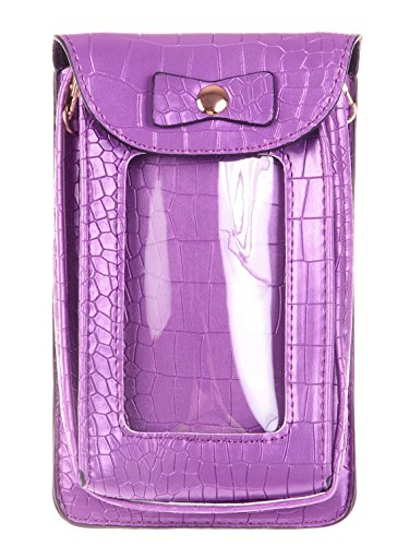 Shoulder Cellphone Pouch Skin Single KISS GOLD Faux Bag Purple Crossbody Leahter Crocodile TM wqx6PSvx8