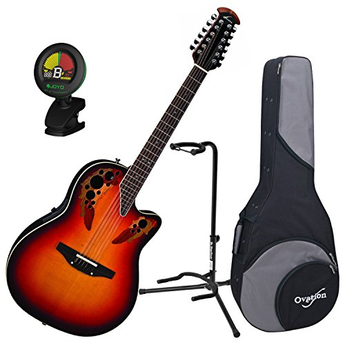 Ovation 2758AX-NEB Standard Elite 12-String New England Burst Guitar w/Case, Tuner, and Stand