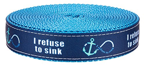 Country Brook Design 3/4in Blue Refuse to Sink on Ice Blue Nylon Webbing, 50 Yds by Country Brook Design