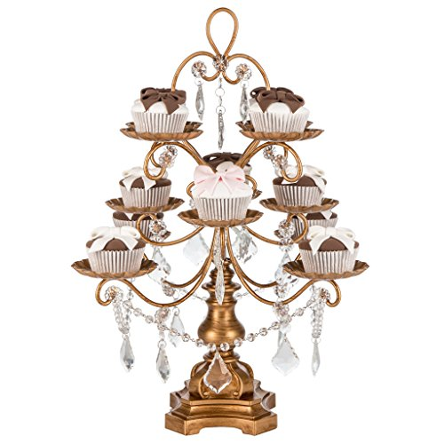 Madeleine Collection' 12 Piece Cupcake Stand, Dessert Display Tower with Crystal Dangles (Gold) (Vintage Crystal Gold)