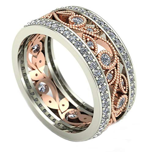 TEMEGO Womens Two Tone Round Bezel Channel Created Moissanite Filled CZ Cutout Branch Leaf Milgrain Gold Plated Eternity Wedding Rings