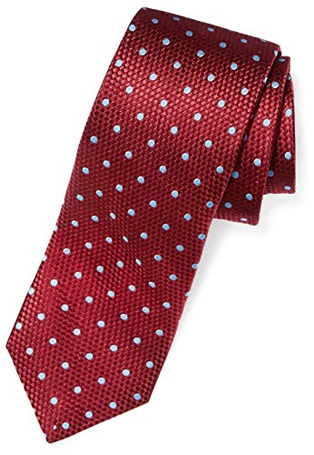 Buttoned Down Men's Classic Silk 3'' Necktie, burgundy/light blue Dot (Contrast Tail: Stripes), X-Long by Buttoned Down