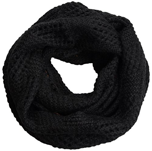 NEOSAN Women Warm Chunky Ribbed Knit Winter Infinity Loop Scarf Plaid Black