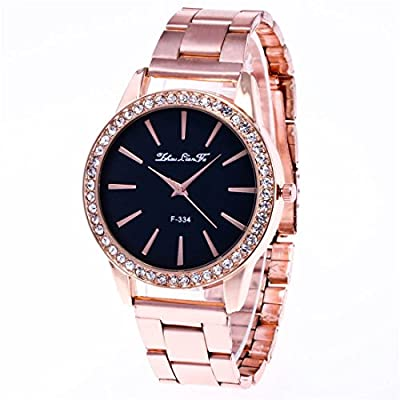 Sourts Womens Rose Gold Color Steel Band Black Dial Rhinestone Wrist Quartz Analog Watch 23cm