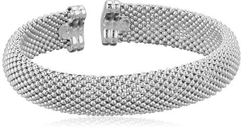 Women's White Rhodium Plated Sterling Silver 13MM Dew Drop Mesh Bangle Bracelet