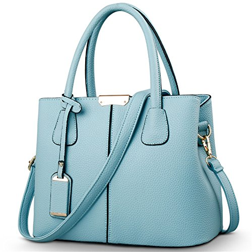 Women's Body Handbags Bowling Bag SkyBlue Satchels Medium Purse Top Size Handle Cross HerHe Zdq1wUFxZ