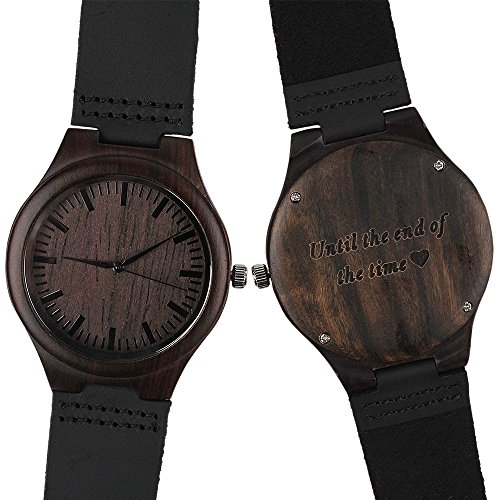 Personalized Wooden Wrist Watch - Until the End of the Time - Unique Wedding Anniversary Gifts for Husband Boyfriend