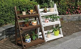LBMhua Bastidores de Flores de Madera/Bastidores de Plantas de Interior y al Aire Libre/Jardineras de múltiples Capas/Escalera de Escalera 3F / Soporte de exhibición de Flores Tipo Piso (Color : A): Amazon.es: