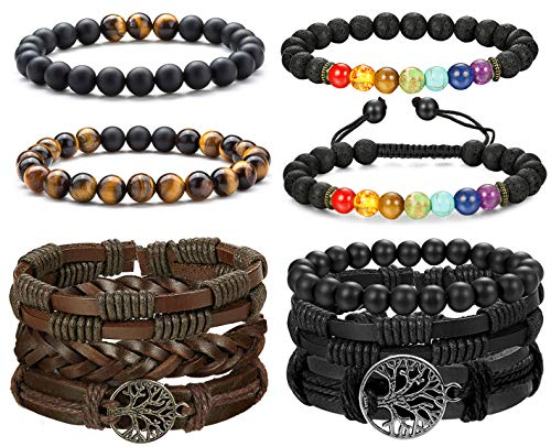 FIBO STEEL 10-26 Pcs Braided Leather Bracelets for Men Women Cool Wrist Cuff Bracelet Adjustable
