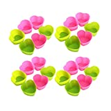MZCH Non-Stick Silicone Baking Cups, Reusable Cupcake Molds, Heat Resistant for Oven, Refrigerator, Microwave, Random Color - Heart Shaped (Set of 24 pieces)