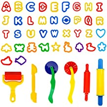 SPIEL Kids Clay and Dough Tools Kits with Models and Molds - 42 Pcs Play Dough Cutters and Modelling Tools with Capital Letters Alphabet,Assorted Colour