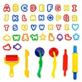 Spiel 44 PCS Play Dough Tools Set With Animal and Letters Modeling -  Clay Play Accessories Include Cutters, Molds, Rollers, Alphabet, Animals Shape Models and Mega Molds, Assorted Colors