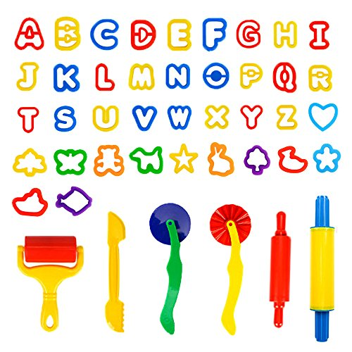 Spiel 44 PCS Play Dough Tools Set With Animal and Letters Modeling -  Clay Play Accessories Include Cutters, Molds, Rollers, Alphabet, Animals Shape Models and Mega Molds, Assorted (Cutter Assortment)