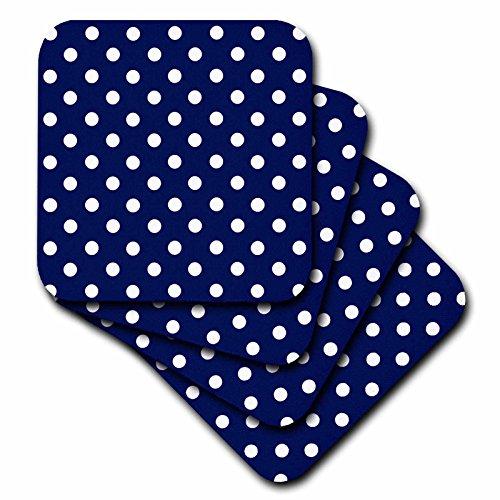 3dRose cst 24685 2 White Polka Coasters