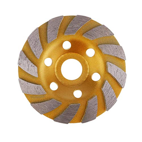 4 Cup Turbo Wheel - SogYupk 4-Inch Concrete Turbo Diamond Grinding Cup Wheel for Angle Grinder 12 Segs Heavy Duty ,Yellow