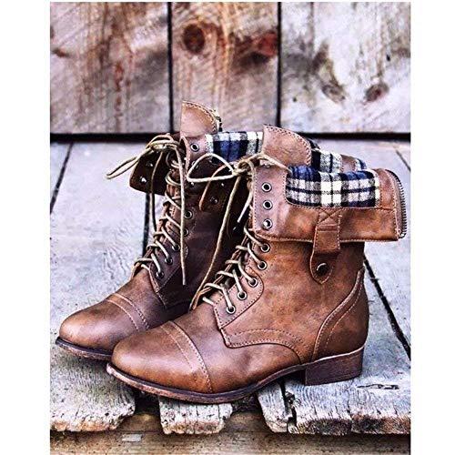 Flat Lace 40 Martin Pu Boots Deed Top Retro De Botas Mujer 's Eu Casual x4g18w