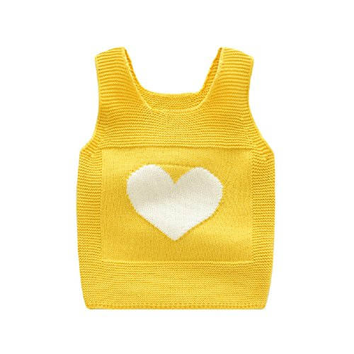 Rexury Toddlers Sweater Vest Little Girls Cable Knit Love Heart Tank Top Pullover Sweater Vest,Yellow,110/3-4T ()