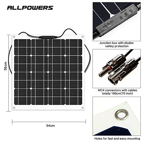 ALLPOWERS-50W-18V-12V-Monocrystalline-Solar-Panel-Charger-Water-Shock-Dust-Resistant-Solar-Charger-for-RV-Boat-Cabin-Tent-or-Any-Other-Irregular-Surface