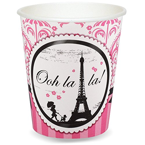 BirthdayExpress Paris Eiffel Tower Damask Party Supplies - 9 oz. Paper Cups (8)]()