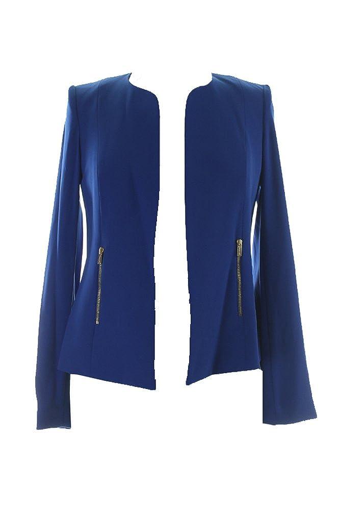 Calvin Klein Women's Solid Open Front Zip Pocket Blazer