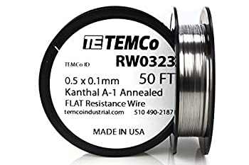TEMCo Flat Ribbon Kanthal A1 Wire 0.5mm x 0.1mm 50 Ft Resistance A-1