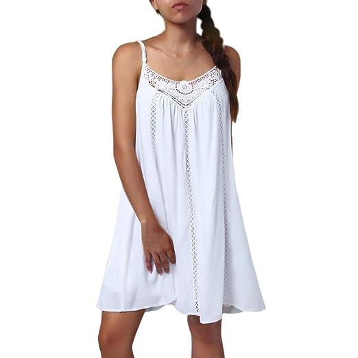 ef15b981809ebe Women s Spaghetti Strap Sleeveless Lace Patchwork Loose Casual Mini Chiffon  Dress (White