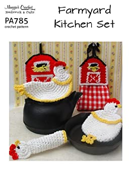 Crochet pattern farmyard kitchen set pa785 r english for Kitchen set name in english
