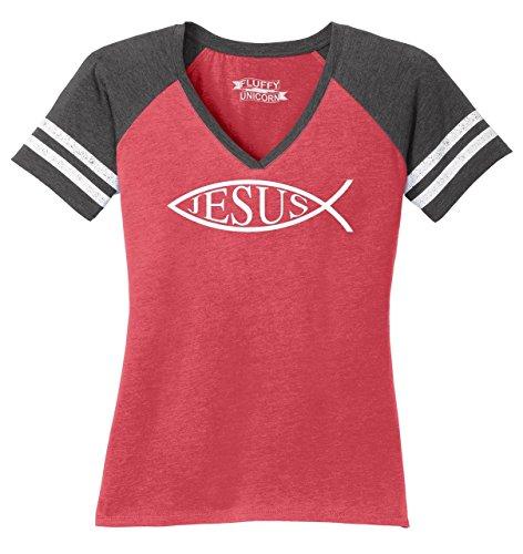 Ladies Game V-Neck Tee Jesus Fish Shirt Christian Faith Religion God Shirt Heathered Red/Heathered Charcoal -