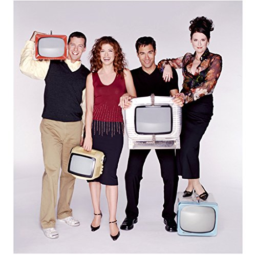 Will & Strength of character Debra Messing, Sean Hayes, Eric McCormack, Megan Mullally Holding T.V.'s 8 x 10 inch Photo
