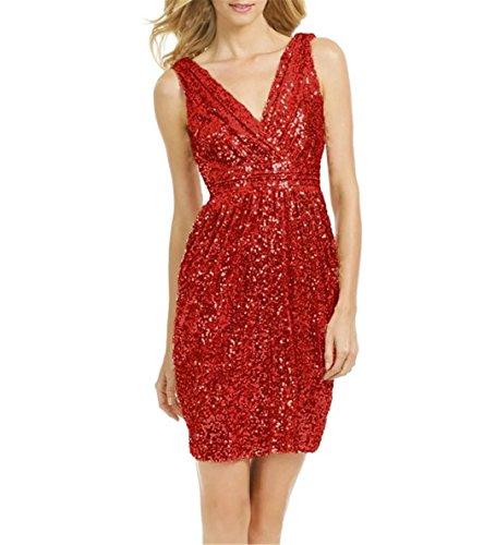 Promenade Abiti Rosso Sposa Vestito D'onore Da Ainidress Partito Paillettes Vestito Da Di Sera Damigella Del 1R6zqra1