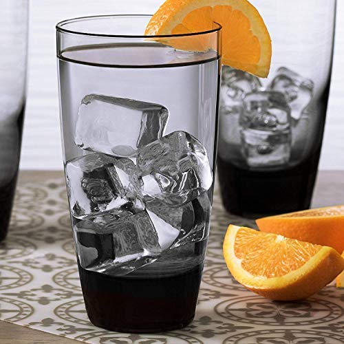 Water Glasses, Highball Glasses, Drinking Glasses Smoke Set of 6-18-oz. USA MADE! LEAD FREE! Thick, Sturdy Base! Heavyweight! Multipurpose! Impressive Glasses For Daily Use & Special Occasions(6) (Drinking Colored Glasses Smoke)