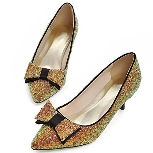 Gold Kitten Pumps Heels Court Fashion Shoes LongFengMa Glitter Women Rt6wC8xCqZ