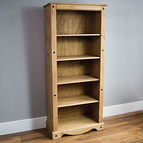 Home Discount Corona Tall Bookcase Solid Distressed Waxed Pine