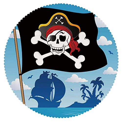 oth [ Pirate,Danger Sign Beware of Pirates Skull with Hat Cross Bones Flag Deserted Island Decorative,Blue Black White ] Fabric Tablecloths ()