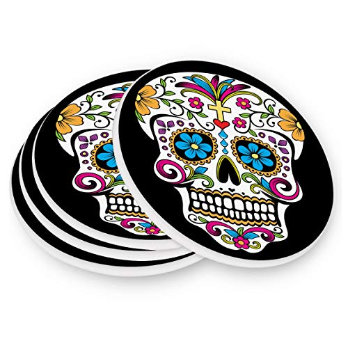 - visesunny Colorful Sugar Skull Pattern Drink Coaster Moisture Absorbing Stone Coasters with Cork Base Non-Slip Cup Place Mats for Cold Drink Coffee and Wine Set of 1