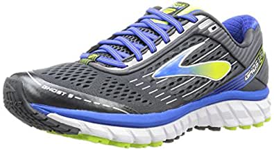 Brooks Men's Ghost 9 Anthracite/Electric Brooks Blue/Lime Punch Sneaker 7.5 D (M)