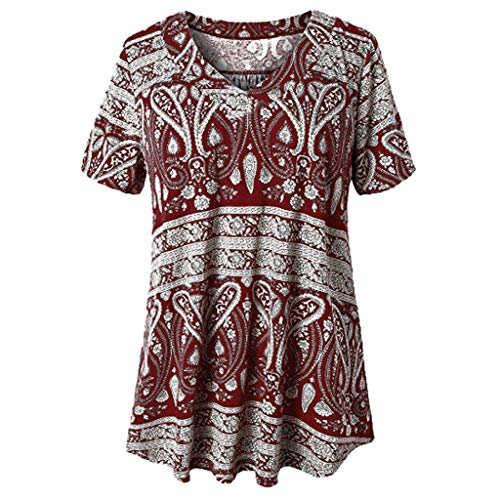 Women's Summer Plus Size Short Sleeve V Neck Tops Shirts Casual T-Shirt Tops Loose Blouse Gogoodgo