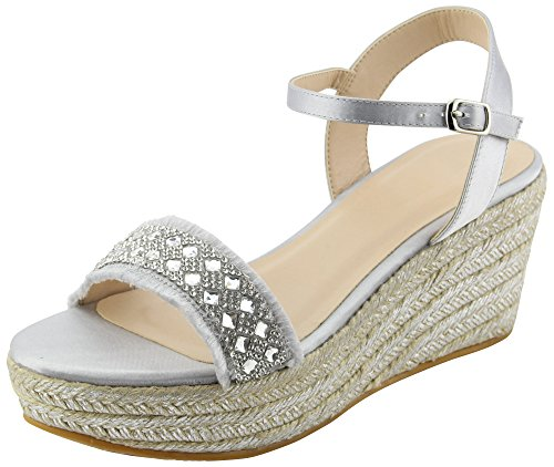 Cambridge Select Women's Open Toe Single Band Buckle Ankle Strappy Crystal Rhinestone Distressed Frayed Espadrille Platform Wedge Sandal (7 B(M) US, Silver)